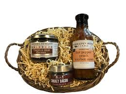 bacon gift basket spread bourbon sauce and bacon salt gift miam