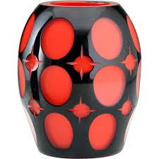 20 Glass Vase C 1914 20 Johann Oertel Black Cut To Red Glass Vase From