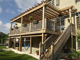 Deck Plans With Pergola by 2 Story Descks And Pergolas Story Pergola Backyard Ideas