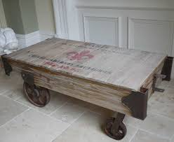 railway coffee table vintage retro rustic shabby chic style