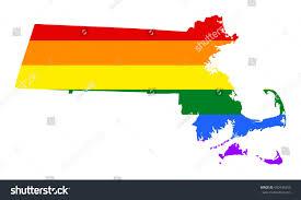 Flag Of Massachusetts Massachusetts Pride Vector Map Rainbow Stock Vector 650436253
