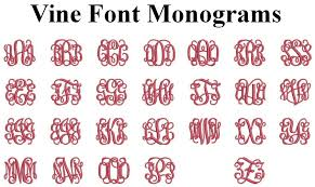 Initial Monograms Embroidered Vine Font Initial Monogram Iron On Appliqué Patch Dark