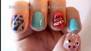 disney u0027s moana inspired nail art youtube