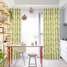Leaf Design Curtains Lime Green Leaf Print Linen Country Long Curtains