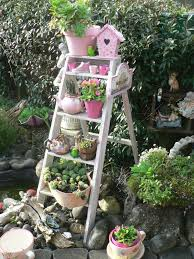 Shabby Chic Garden by Old Ladder Garden Idea Put Grand Kids Potted Plants On The Ladder