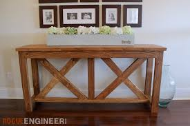 Free Wooden Table Plans by Diy X Brace Console Table Free Plans Rogue Engineer