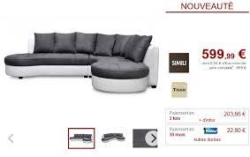 vente unique canapé canapé d angle droit bimatière blanc et gris canapé