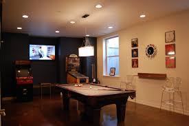 interior comfortable basement game room design with big billiard