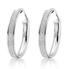 gold hoop earrings uk 9ct white gold glitter hoop earrings 0007958 beaverbrooks the