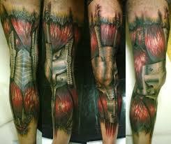 biomechanical tattoo for knee 3d colored biomechanical tattoo on leg