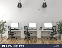 work desks in empty room with big wall in background 3d