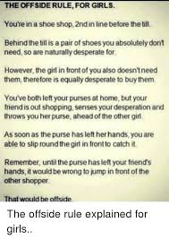 Buy All The Shoes Meme - the offside rule for girls you re in a shoe shop 2ndinline before