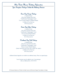 Wedding Packages Prices 2016 Wedding Package Information Blue Water Manor