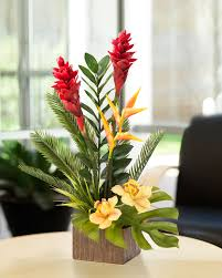 exotic torch ginger and orchid arrangement with bird of paradise