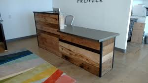 Industrial Reception Desk Custom Made Reclaimed Wood Steel Reception Desk Library Design