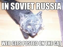 In Soviet Russia Meme - in soviet russia web gets posted on the cat weknowmemes