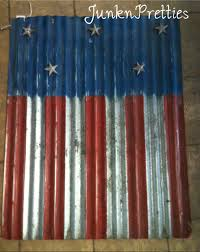 Painting A Flag Hand Painted Flag Painted On Corrugated Metal With Metal Stars