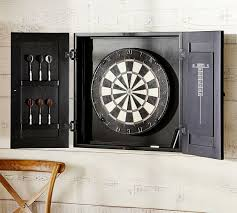 black dart board cabinet dartboard wood cabinet game set pottery barn