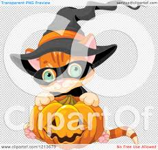 halloween clip art transparent background cartoon of a cute orange halloween kitten wearing a witch hat and
