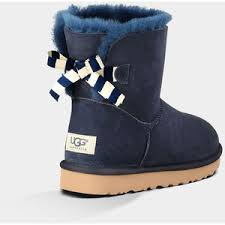 ugg bailey bow navy blue sale ugg mini bailey bow stripe s navy ugg australia polyvore