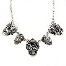 skull link necklace images Sugar skull silver burnish plating multi pendants chain link jpg