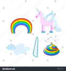fantastic set unicorn pink fabulous beast stock vector 411477862
