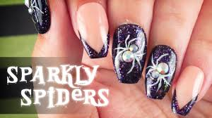 sparkly spiders nail art halloween 2017 youtube