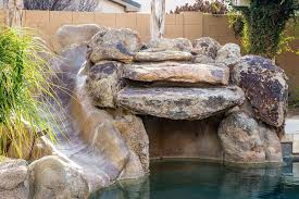 Backyard Pool With Slide - rustic swimming pool with outdoor pool by new image landscape
