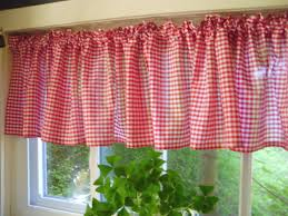 Brown Gingham Curtains And White Checker Pattern Gingham Valance