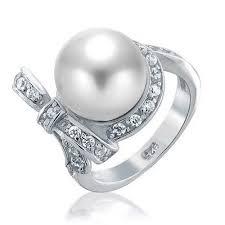 pearl ribbon bridal cz bow ribbon south sea shell white pearl ring