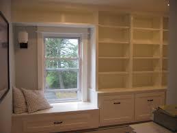 furniture home finished window seat bookshelf built in design