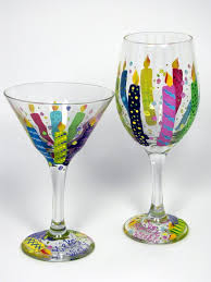 Personalized Birthday Candles Hand Painted Birthday Martini Glass Birthday Gift Hand Painted