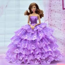 beautiful barbie doll long hair purple frock impfashion