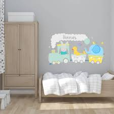 cute animal train fabric wall sticker by littleprints