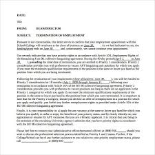 job termination letter editable job termination letter to