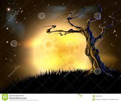 blue halloween moon tree background royalty free stock photos