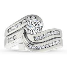 wedding set rings diamond channel set engagement ring and wedding band gloria