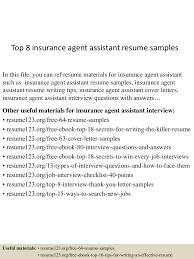 Sample Of Insurance Agent Resume Template Top8insuranceagentassistantresumesamples 150723081343 Lva1 App6891 Thumbnail 4 Jpg Cb U003d1437639268