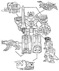 power rangers megazord and dinosaurs coloring page for boys