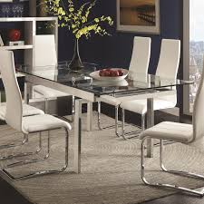 coaster contemporary clear glass top dining table with leaves coaster contemporary clear glass top dining table with leaves main image
