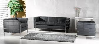 corbusier style grande sofa loveseat u0026 chair set in black