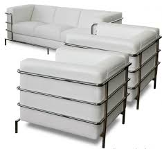 citadel white leather 3 pc love seat sofa chair on sale