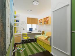 modern attic room design for kids with green stirped rug plus