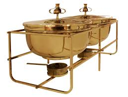 double chafing dish set in brass by tommi parzinger for the