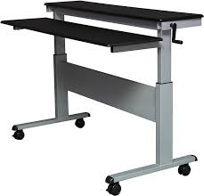 amazon com crank adjustable sit to stand up desk with heavy duty