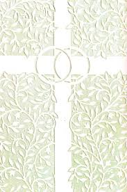 wedding bulletins ivory cross and rings wedding bulletin quantity per package 100