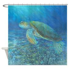 Sea Themed Shower Curtains Sea Turtle Shower Curtain By Mclaughlinwatercolor