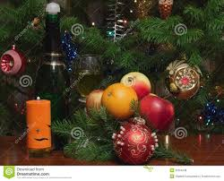 candle and christmas tree decorations royalty free stock photos