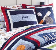 Sports Themed Comforters Amazing Jake Quilt Pottery Barn Kids Throughout Sports Themed