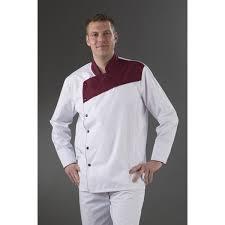 vetement cuisine veste cuisine blanche plastron prune col officier prune my tablier